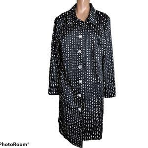 Sangria polka dot coat button front size 14